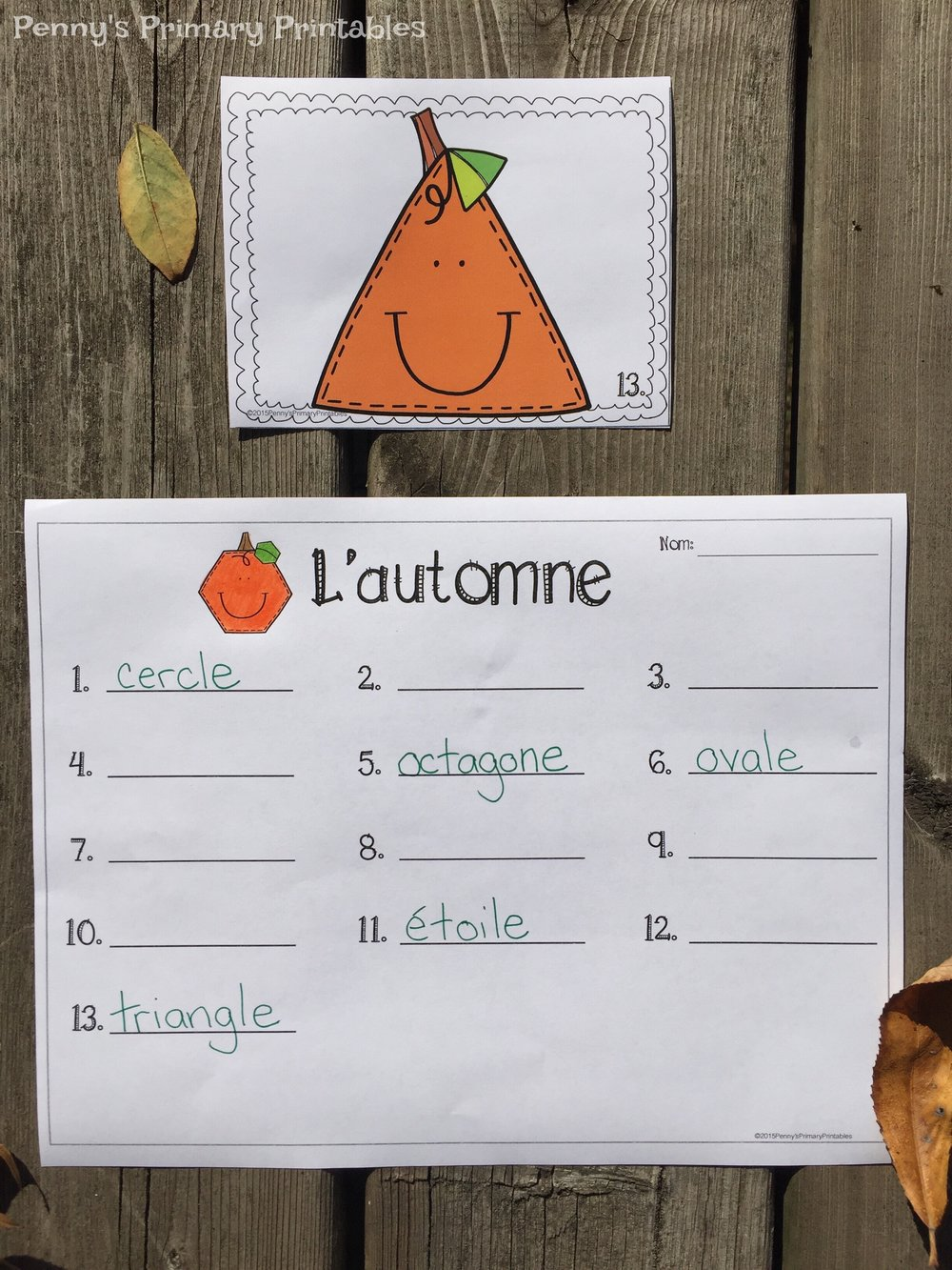 If you are looking for more math fun I love to use this shape around the room set to get students recognizing shapes and their names. They hunt around the room to find the shapes and record the words. There are also color by shape pictures included for extra fun.You can find this set here or click the image below (available in French only at this time).