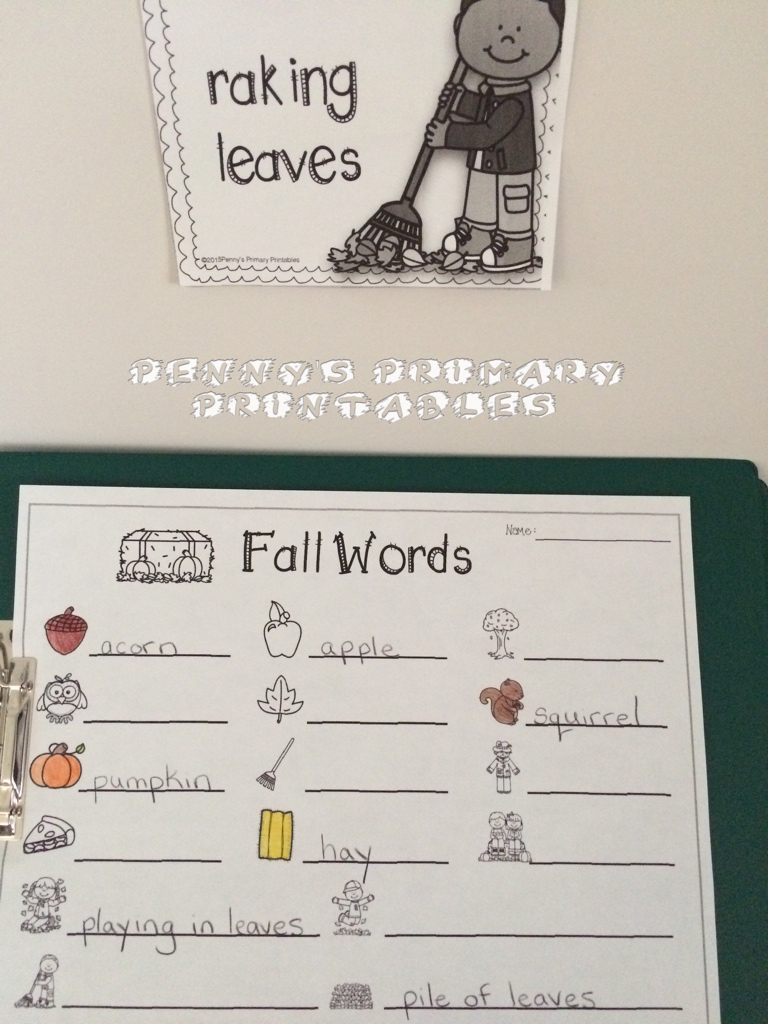 I use this Fall write the room activity during literacy centers to introduce Fall words. The word cards can also be used on a word wall. There are lots of other fun activities included in the set like color by word pictures and word puzzles. You can check out the English version  here  and the French version  here .