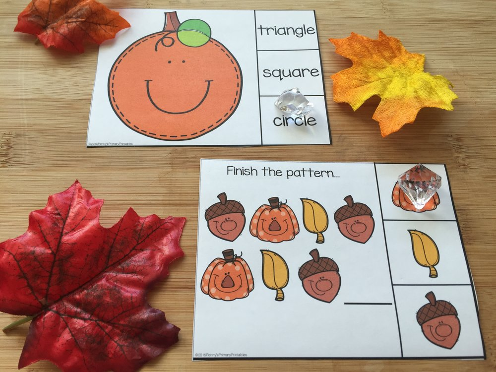 These clip cards are a great way to check students' understanding quickly and easily. Students can clip the right answer with a clothespin or put an object on the correct answer. I have used pumpkin erasers or fall stickers in the past.