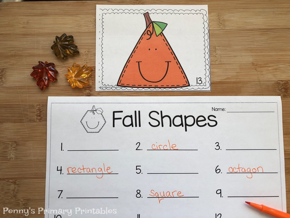 If you are looking for more math fun I love to use this shape around the room set to get students recognizing shapes and their names. They hunt around the room to find the shapes and record the words.  There are also color by shape pictures included for extra fun. You can find this set in French  here  or in English  here .