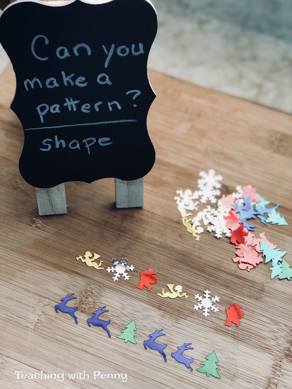 These Christmas confetti shapes are perfect for little fingers to practice their patterning and fine-motor skills. The packages usually come with so many pieces that students could glue these onto the template or you could use these for crafts. You can find similar Christmas confetti on Amazon  here .