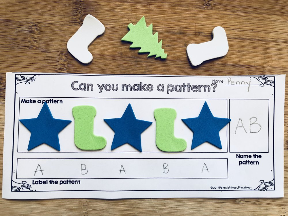 I made a free template that you can grab in this post which you can use with any of these patterning materials. Students will be able to demonstrate their knowledge of creating, labelling and naming a pattern.