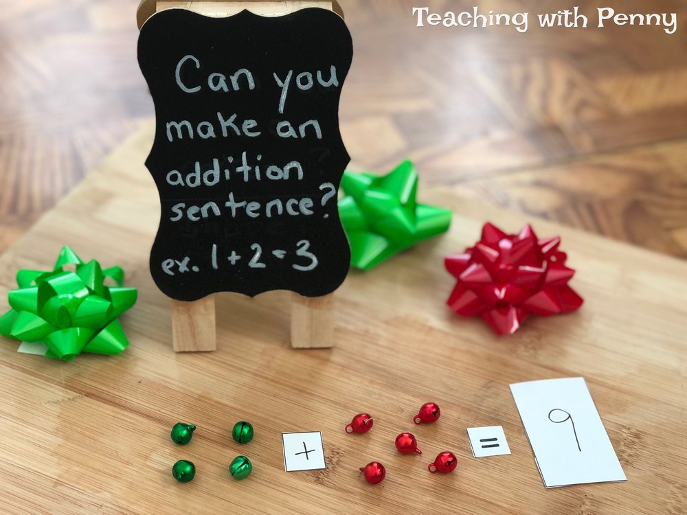 I used these tiny bells in an open addition center, all you need to do is cut out and label pieces of paper with math symbols and numbers or let the students do their own. They can put their findings on the template or continue experimenting with the materials and making more addition sentences. You can find similar jingle bells on Amazon  here .