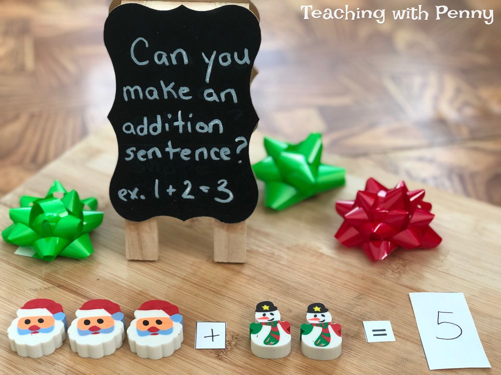 I love mini erasers and they are so easy to use for adding, counting and so much more! This simple center takes little time to prep and is easy and fun for students to do. You can find similar mini Christmas erasers on Amazon  here .