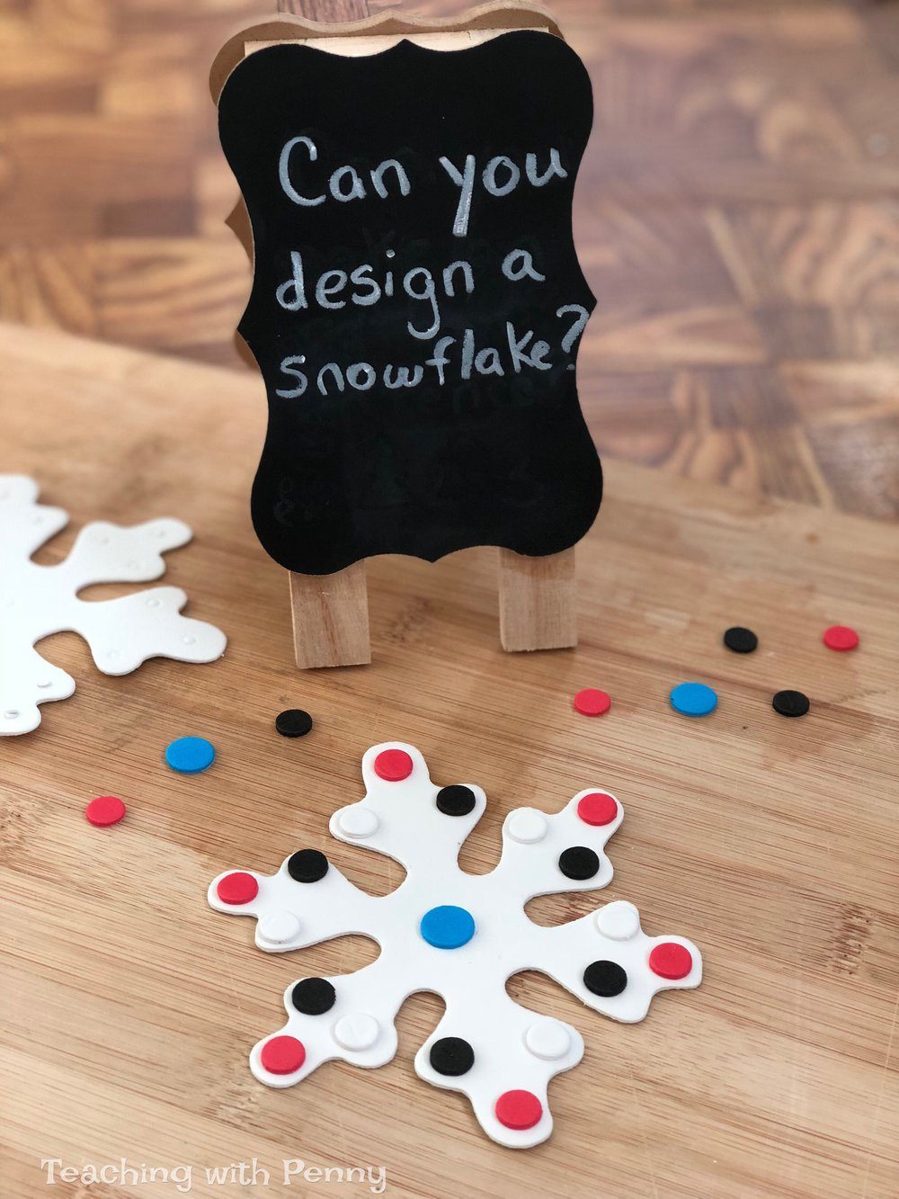 I bought these foam snowflakes to use for crafts but I decided I could use them for centers as well! In this center I asked students to create a design for their snowflake and I had a student come up to me and tell me that he had made a pattern on his snowflake! I love that he could take the skills and previous knowledge learned and apply it in other areas. You can find similar foam snowflakes on Amazon  here .
