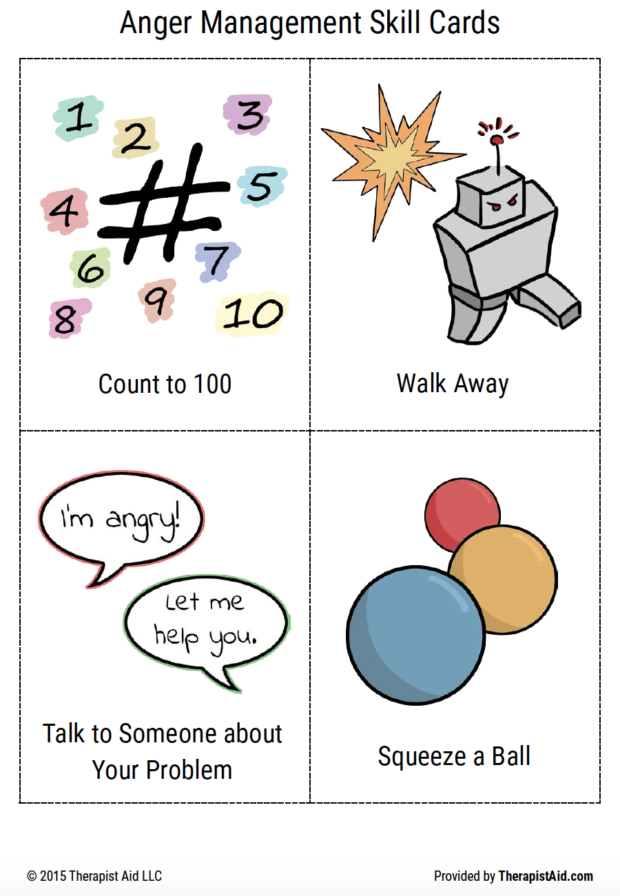 anger management skills cards for children with autism
