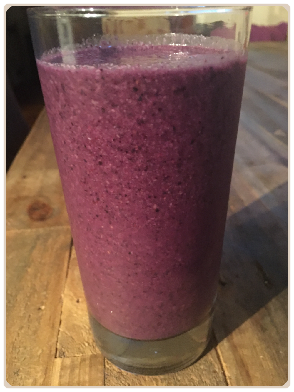 Blueberry Chia Smoothie   Ingredients:  1 cup Frozen Blueberries 1 1/2 cups Almond Milk (sweetened) 2 tbsp Chia Seeds 1 tbsp Coconut Oil 1 tsp Vanilla Extract 1/4 tsp Cinnamon Raw Honey to taste  Directions:  Combine all ingredients together in a blender and blend on high until smooth.