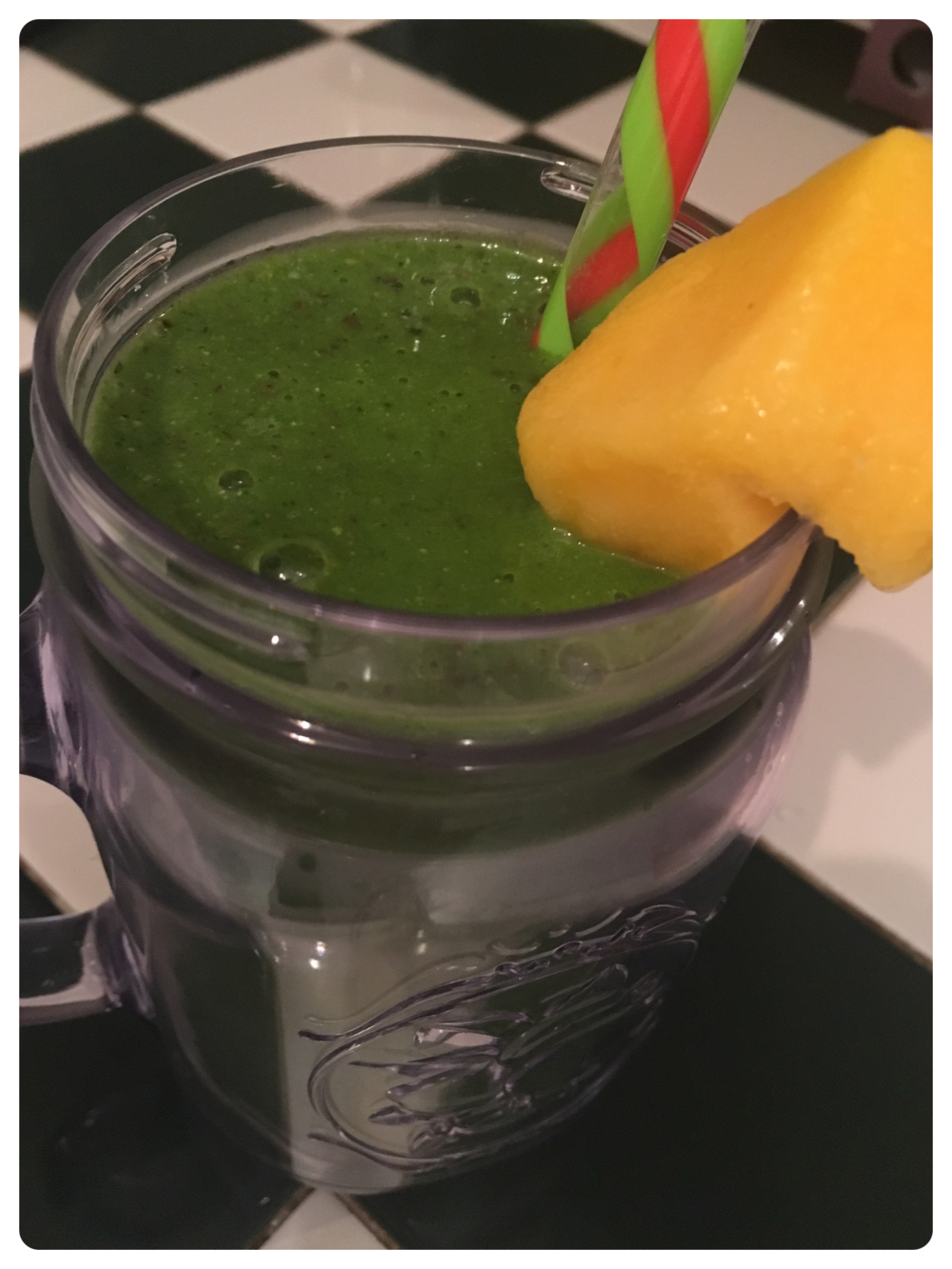 Mango Hemp Green Smoothie   Ingredients:  1/2 cup Almond Milk (unsweetened) 1/2 cup Mango 2 cups Spinach 1 Banana 1 tbsp Hemp Seeds (ground) 1/8 tsp Salt                                                  4-5 Ice Cubes  Directions:  Combine all ingredients together in a blender and blend on high until smooth.