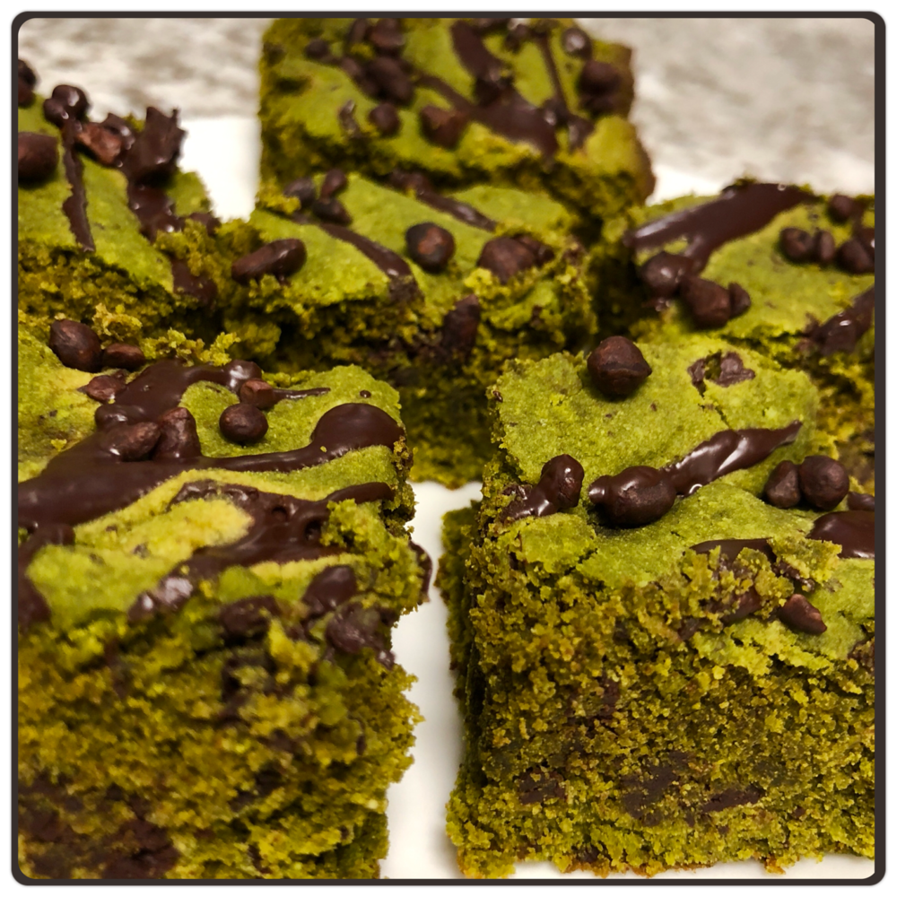Matcha Mint Brownies   Dry Ingredients:  1/2  cup Almond Flour 1 cup Coconut Flour   1/4  cup Matcha Powder 1/2  tsp Baking Soda 1/4 tsp Salt 1/2 cup Dark Chocolate Chips, or chopped up Dark Chocolate Chunks  Wet Ingredients:  1/2 cup Butter(softened) 2  Eggs 2 tbsp Coconut Oil 3 tbsp Agave Syrup 1/2  tsp Vanilla Extract  1 tsp Peppermint Flavor (I used Frontier CO-OP brand)  Toppings: 2 oz  Dark Chocolate (85% - 90%) 1/4 cup Cacao Nibs  Directions:  1.  Pre-heat the oven to 350 degrees °F. Grease an 8X8 pan and set aside. 2.  In a large bowl combine dry ingredients, add in wet ingredients and mix until well combined.  Add in the chocolate chips at the end. 3.  Pour batter into greased pan and bake for 15-18 minutes, or until a toothpick comes out clean. Let cool on a baking rack. 4.  Melt the dark chocolate over low heat. 5.  Once cooled, drizzle chocolate over brownies and sprinkle with cacao nibs.
