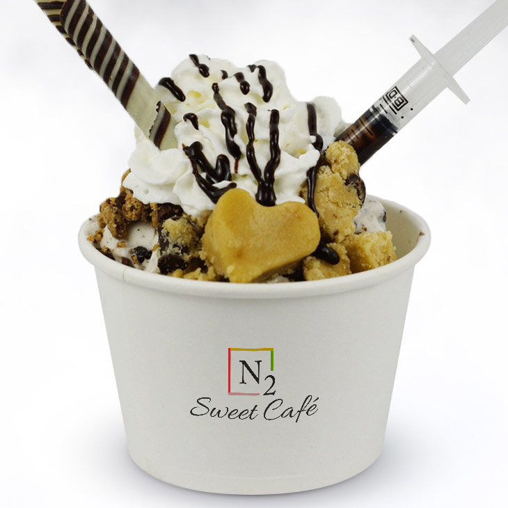Nutty Professor - Teach your taste buds the fine art of chocolate/peanut butter madness.Base: Reese's and Oreo ice creamToppings: Chocolate chip cookie dough, chocolate stick, whipped cream and premium chocolate drizzle.