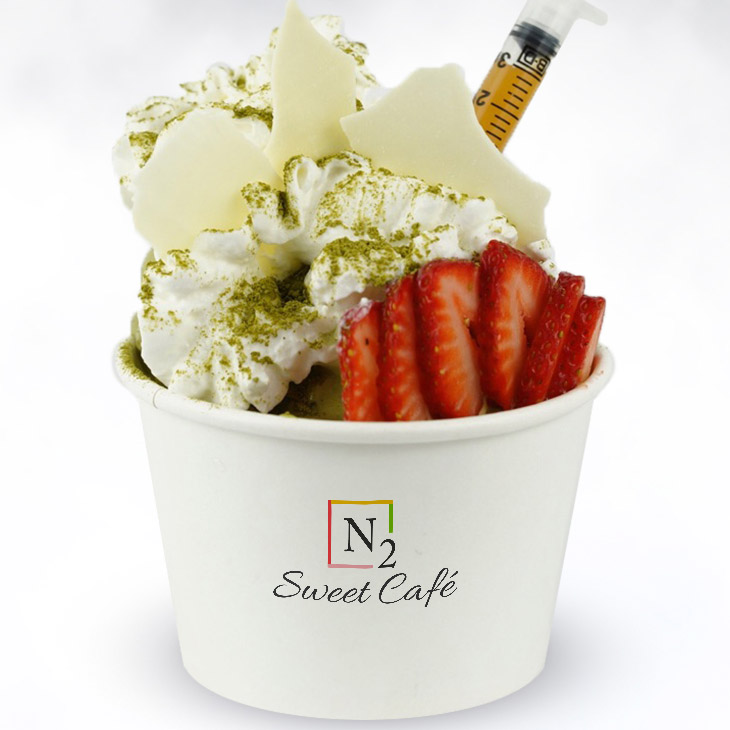 Green Zest - Refreshing signature flavorBase: Green tea ice cream with graham crackersToppings: White chocolate, fresh strawberries, whipped cream and a light dusting of pure green tea powder