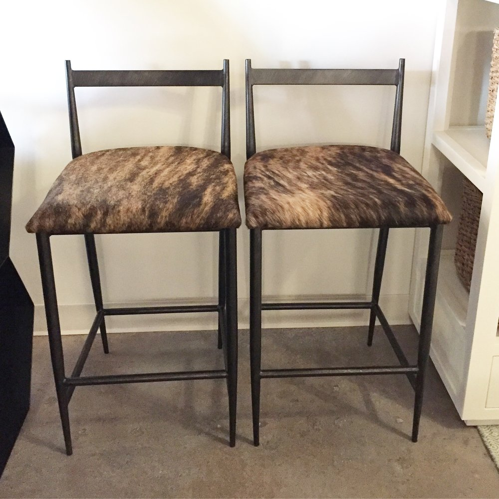 "WARD COUNTER STOOLS, $498 ea  TRI-COLOR COWHIDE, METAL. DIMENSIONS 15.5""W X 17""D X 31.5""H (24.5""SH)"