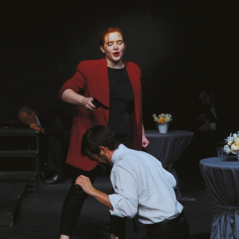 Susan Bywaters as Lucia in  Forse si calmerà  at the Armory Free Theatre in 2018.