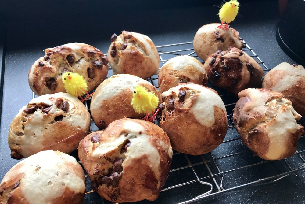 Happy Easter! Chocolate Hot Cross Buns!