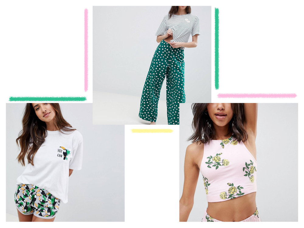 floral long pj's, toucan pj's and another floral set