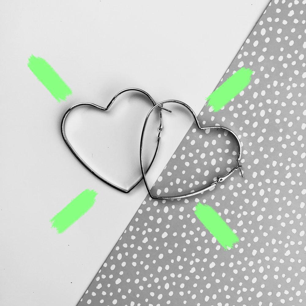 B&W heart hoops from Boohoo