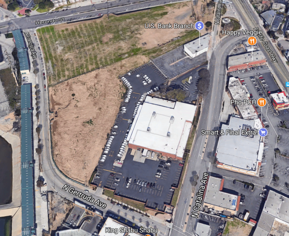 Current satellite image of Herondo St. and PCH in Redondo Beach, CA.