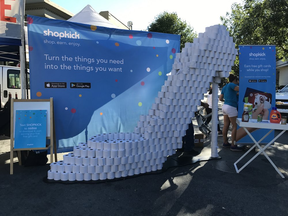 Nearly 500 rolls of toilet paper were used to build a shoe that stands over 8 feet tall.