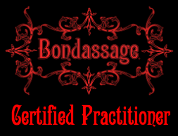"The words ""Bondassage Certified Practitioner"" written in red on a black background"