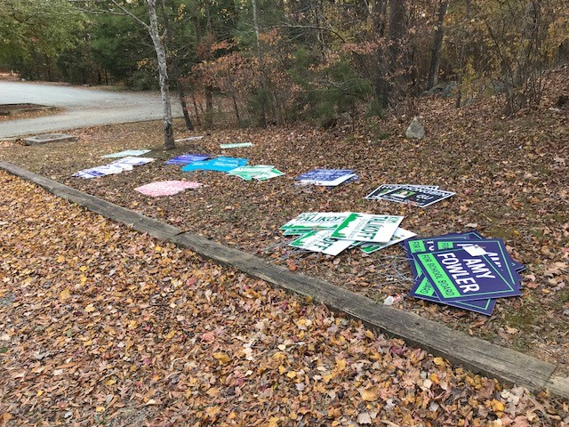 Remnants of the 2017 Municipal Election. Keep  Cedar Falls Park  Clean