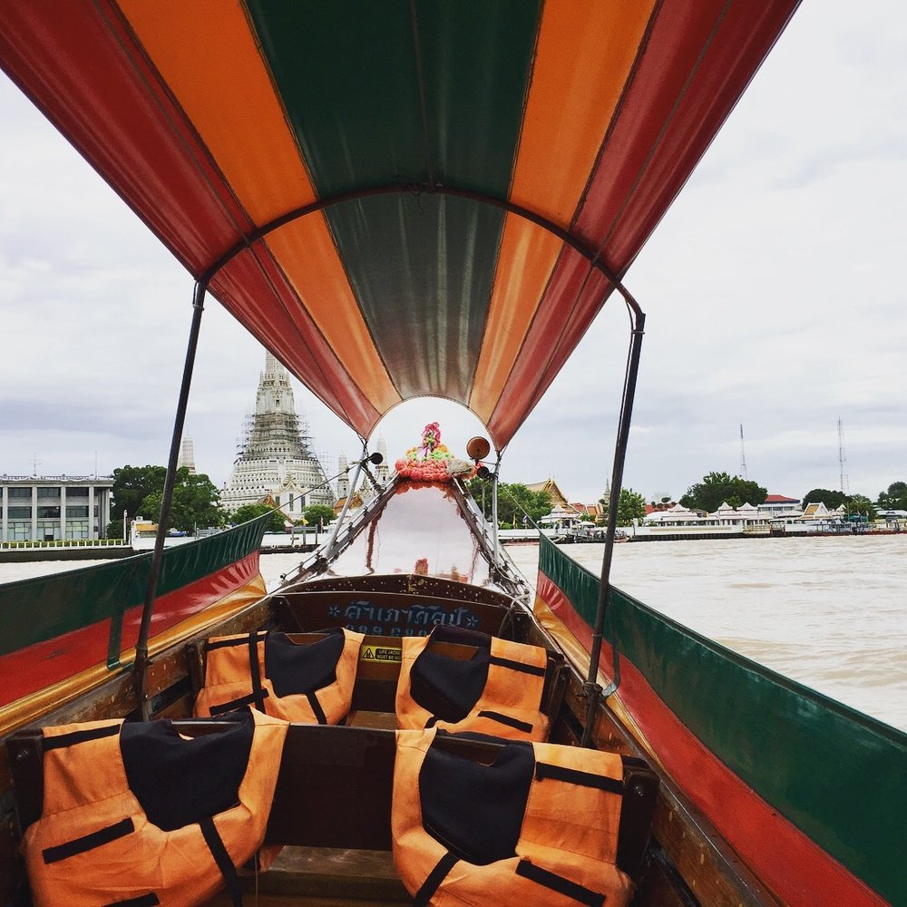 Water taxi ride on the Chao Phraya River.