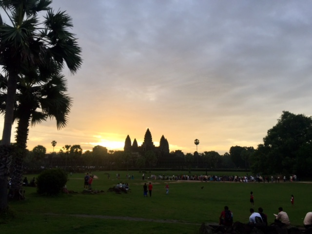 Inside the Angor Wat walls at sunrise.