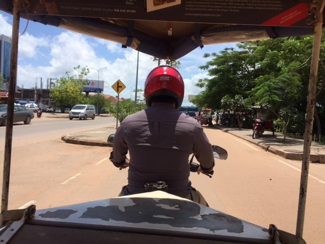 Our first tuk-tuk driver, Dara, taking us to downtown Siem Reap.