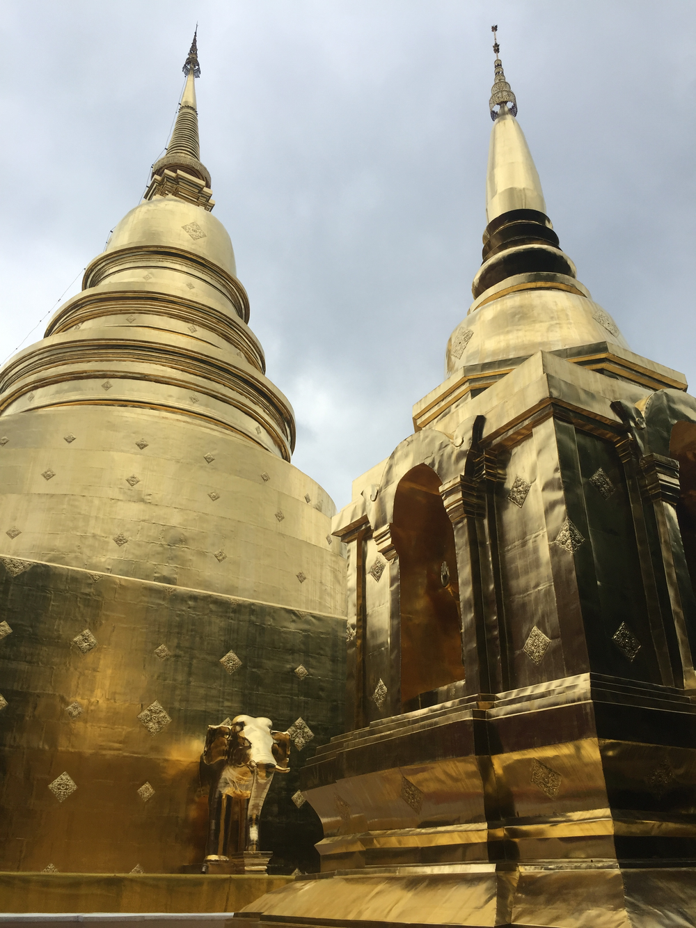 Golden chedis inside Wat Phra Singh.