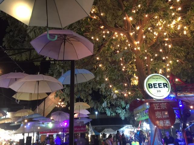 The Ploen Ruedee Night Market -- enjoy beer, international foods and live music.