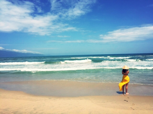 Ashlee on the shore of East Vietnam Sea.