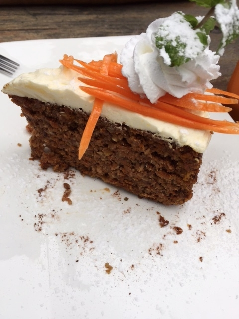 A no-raisin carrot cake slice -- Ashlee's favorite!