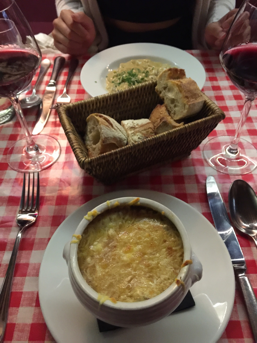 Who said French food wasn't tasty?! -- French onion soup at Chez Fernand.