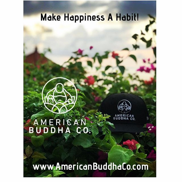 Make happiness a habit! Plenty of time for last minute gift ideas — check out our website today! Here's a recent photo from an #americanbuddhaco in #bali — we still have plenty of #newera #customfittedcaps #hoodie #tees #americanbuddha #gear #yoga #yogapants