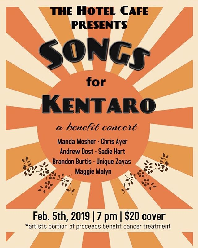 Call it official! Feb. 5th we're raising funds to help with Kentaro's cancer treatment with the help of some amazing artists! Come support and listen to some great tunes. 🎶 @mandamosher @chrisayer @sadiehartmusic @andrewdost @unique_zayas @brandonburtis @kentarokrosse