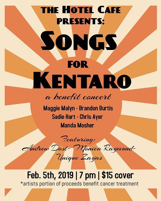 Only $15! All artist proceeds going to help with Kentaro's cancer treatment. Hope to see you there!