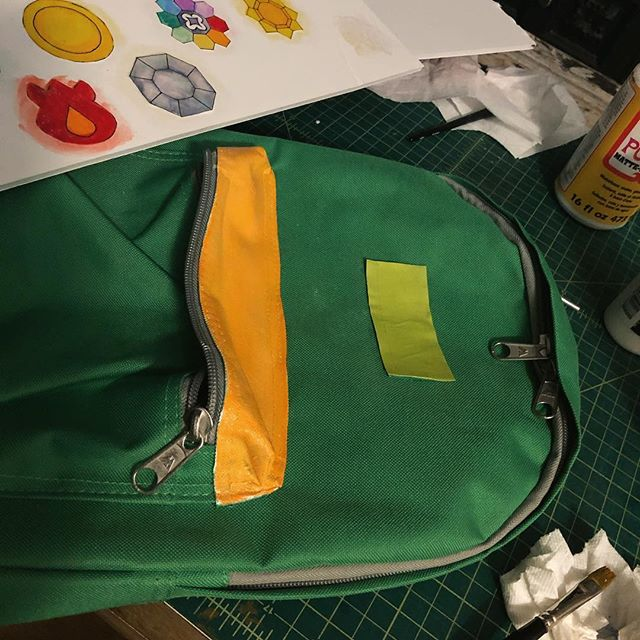 Why yes I AM painting a backpack at 1 in the morning, thanks for asking. #mardigras #diy #costuming #pokemon #iwantobetheverybest