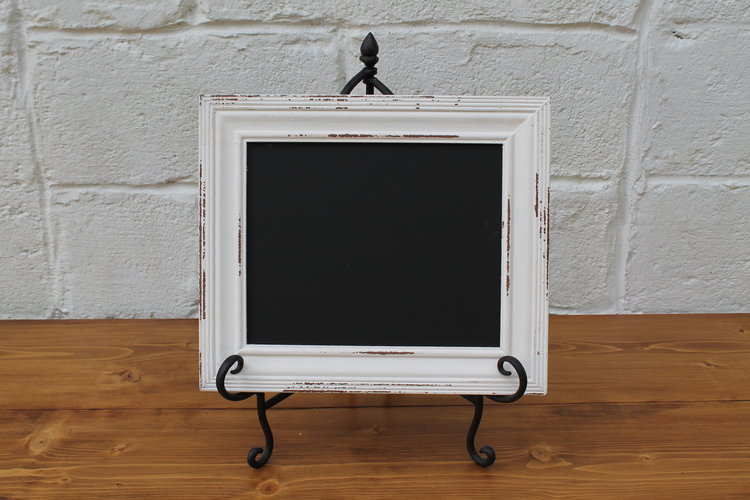 Small White Distressed Framed Chalkboard — East Vintage Charm