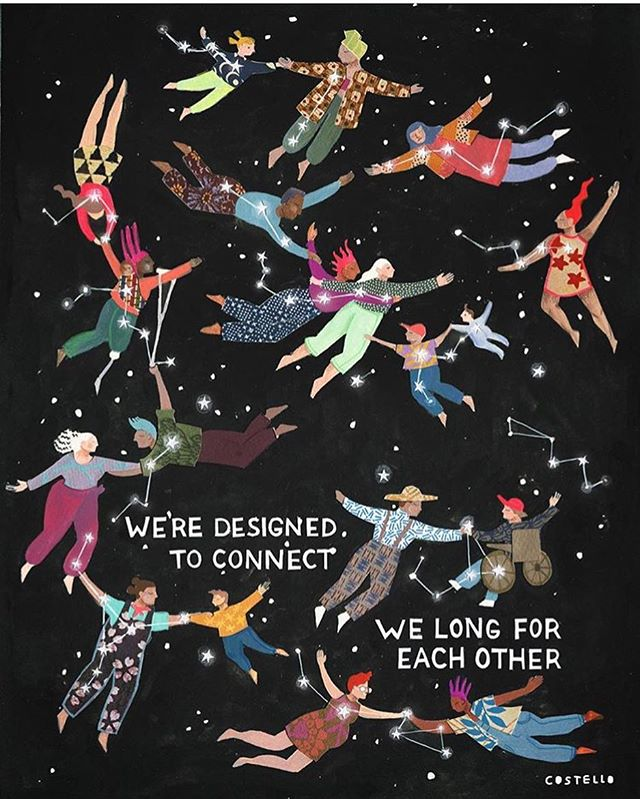 WE'RE DESIGNED TO CONNECT ✨ WE LONG FOR EACH OTHER :: As you likely already know, this proclamation is central to 4 Trimesters' offerings. We need connection — particularly when baby growing, but of course at many other life events that make the need more evident, like when we've had a loss, want to celebrate, or want to expand or share our skill-set. :: I've only just come across @mollyccostello 's work, but goodness do I love it for its vibrancy and diverse representation of people. Plus, as far as I can tell, Molly and I are kindred in our feminist queerness and experience with organic farming. If you haven't had the opportunity to browse her work yet, I sure hope you take it now! :: :: #homoluminous #mollyccostello #buildingcommunity #ittakesavillage #ecoparenting #torontofamilies #feministart #illustration #queerart #celebratediversity #loveislove #webelongtogether #growingtinyhumans #parenthood