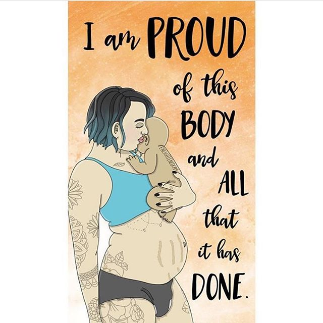 "🙌🏽 Yaaaaas! 🙌🏾 Our bodies are so impressive, aren't they? ... 💜 I'm definitely proud of mine and all that it has done. My internalization of external judgments about an ""ideal"" body have been delightfully quieter since my bod grew and entire, magical human. 👩‍👧 :: :: Illustration by @enlightenedcam - 😍🙏🏼 😍"