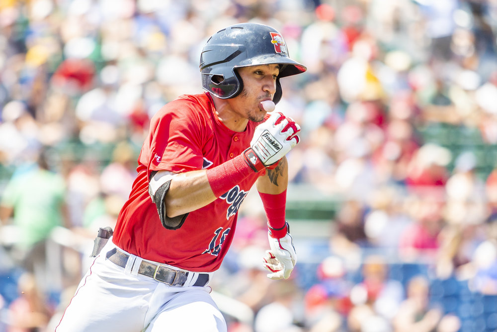 PORTLAND, ME - AUGUST 05:  Jeremy Rivera #16 of the Portland Sea Dogs sprints to first in the first inning of a game against the Richmond Flying Squirrels on August 5, 2018 in Portland, ME at Hadlock Field. (Photo by Zachary Roy/Getty Images)