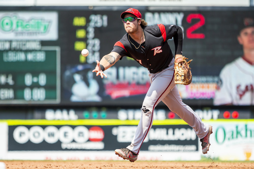 PORTLAND, ME - AUGUST 05:  Jonah Arenado #7 of the Richmond Flying Squirrels fields a ground ball in the second inning of a game against the Portland Sea Dogs on August 5, 2018 in Portland, ME at Hadlock Field . (Photo by Zachary Roy/Getty Images)