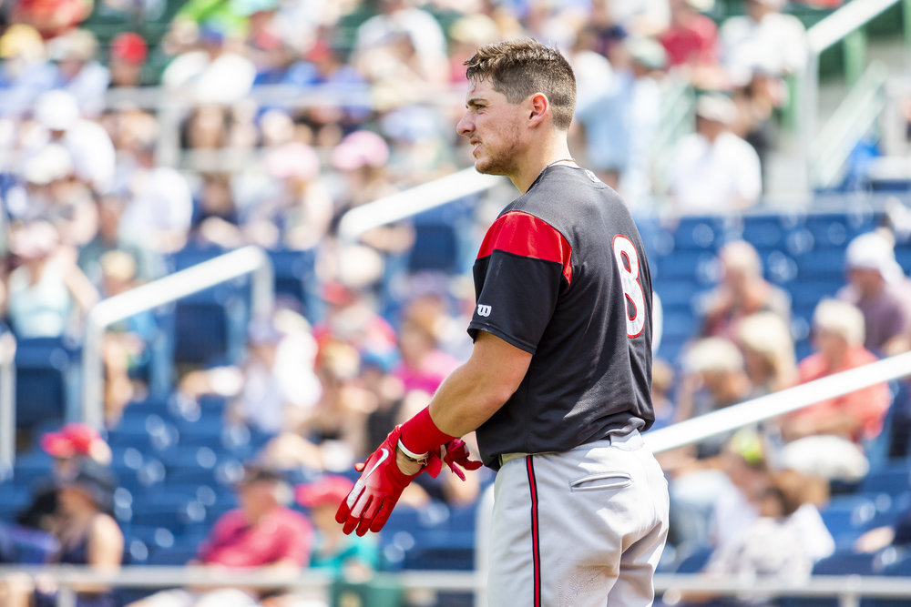 PORTLAND, ME - AUGUST 05:  Ryan Howard #8 of the Richmond Flying Squirrels gets ready to bat in the fourth inning of a game against the Portland Sea Dogs on August 5, 2018 in Portland, ME at Hadlock Field . (Photo by Zachary Roy/Getty Images)