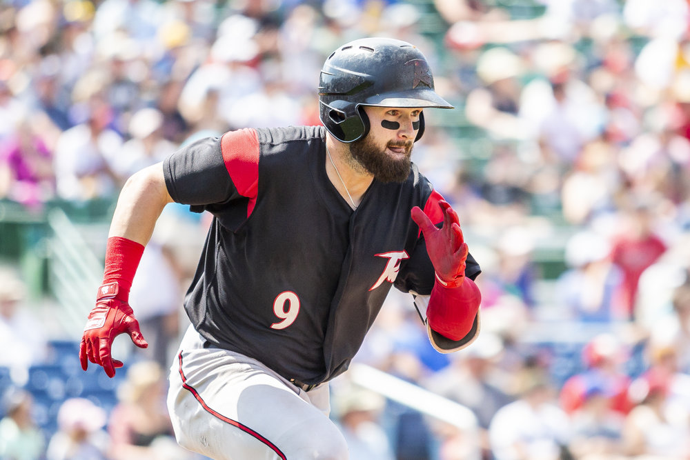 PORTLAND, ME - AUGUST 05:  Matt Lipka #9 of the Richmond Flying Squirrels hits a double in the fifth inning of a game against the Portland Sea Dogs on August 5, 2018, in Portland, ME at Hadlock Field . (Photo by Zachary Roy/Getty Images)