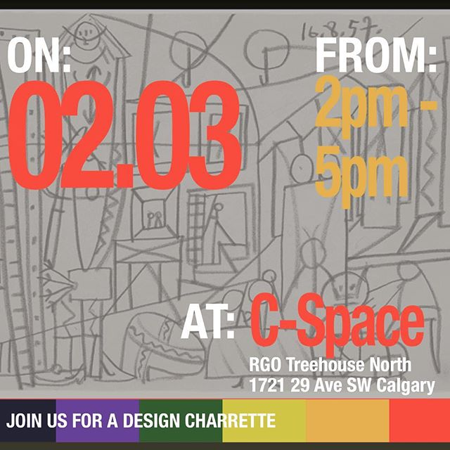 New year. More design. In Phase I of the YYC Legacy project we heard what themes and places were important for an LGBTQ2S+ commemoration in Calgary. So let's get designing! . . Charrette No. 1 Details: Where: C-Space - RGO Treehouse North Address: 1721 29 Ave SW Date: Feb. 3rd, 2017 Time: 2pm - 5pm RSVP to: stories@yyclegacy.ca or send us a message to reserve your spot. . Snacks will be provided to help the creative process! No design experience necessary, just bring your lived experience. . . #yyclegacy #yyc #yycpride #calgarypride #lgbtq2s #lgbtqrights  #socialjustice #yycstreets