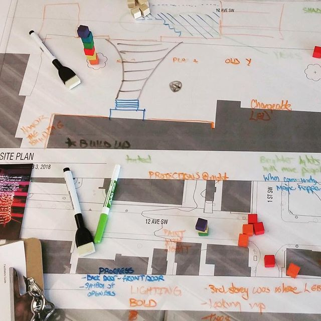 #tbt to our first design workshop at the beginning of February, exploring an LGBTQ2S+ commemoration as a public space on 12th Ave SW. So many ideas!  Join us for our second workshop this Monday. We'll be working on creating an LGBTQ2S+ Community Hub inside the Old 'Y'. . #lovewins #loveislove #yycpride #yyc #rainbowdesign #creativityforlife #rainbowflag