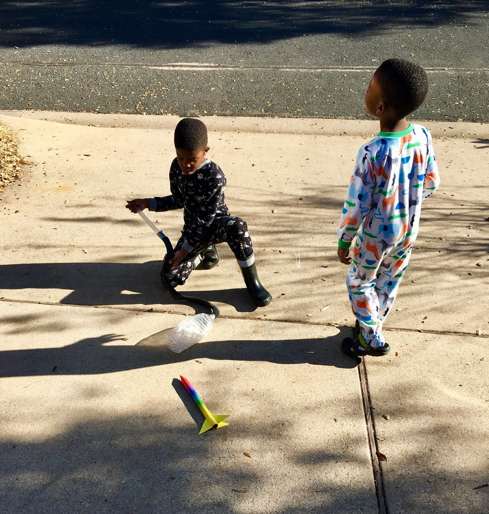 We don't have PJ Day often, but when we do, you better believe we still head outside to do our science experiments!