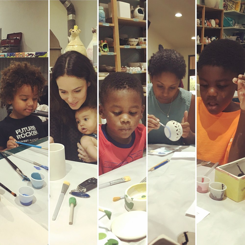 Day Four: Paint Your Own Ceramics with the boys' cousins and aunt!
