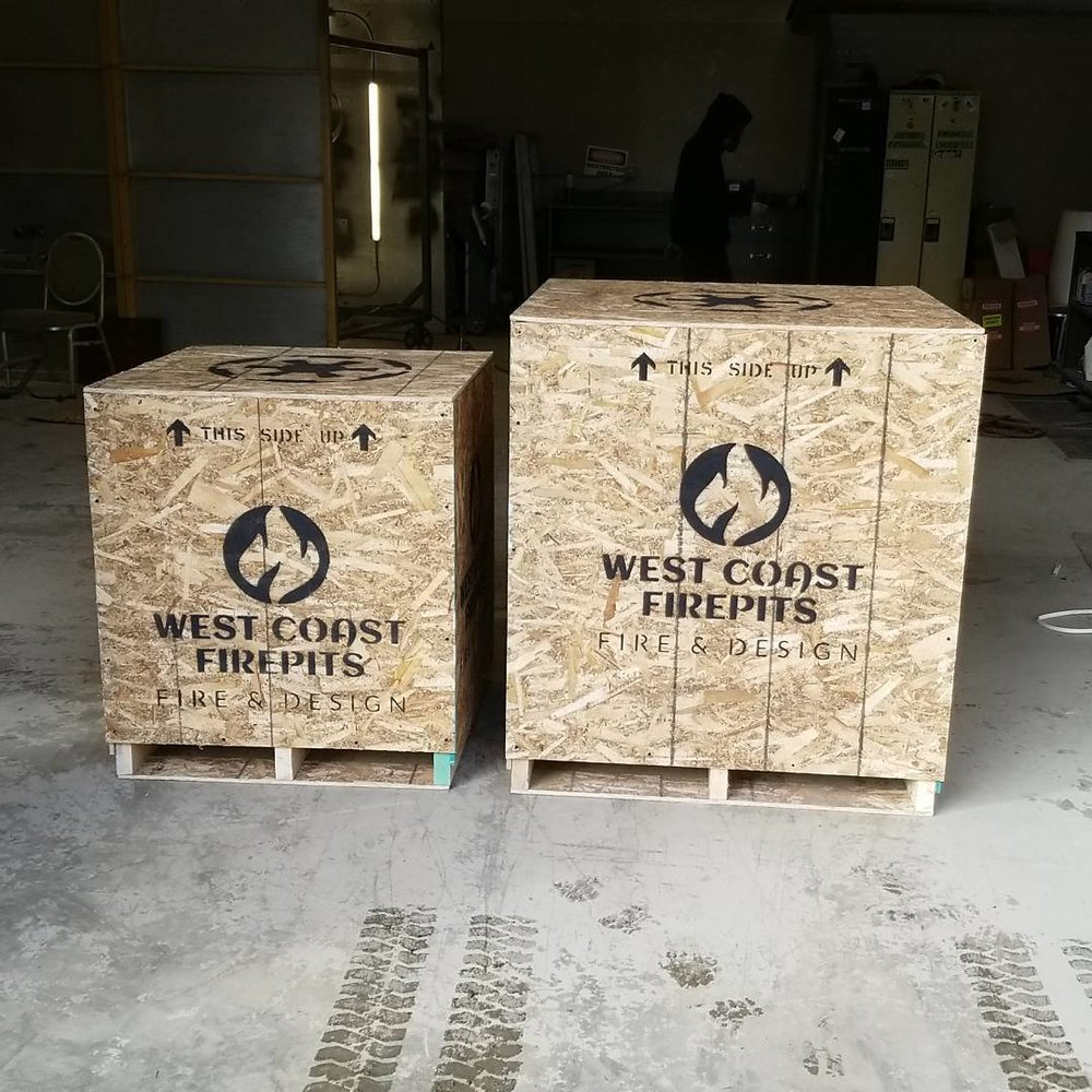 "30"" and 37"" crated fire pits"