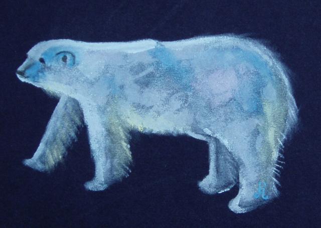 Polar Bear on a tee shirt. By June Jewell