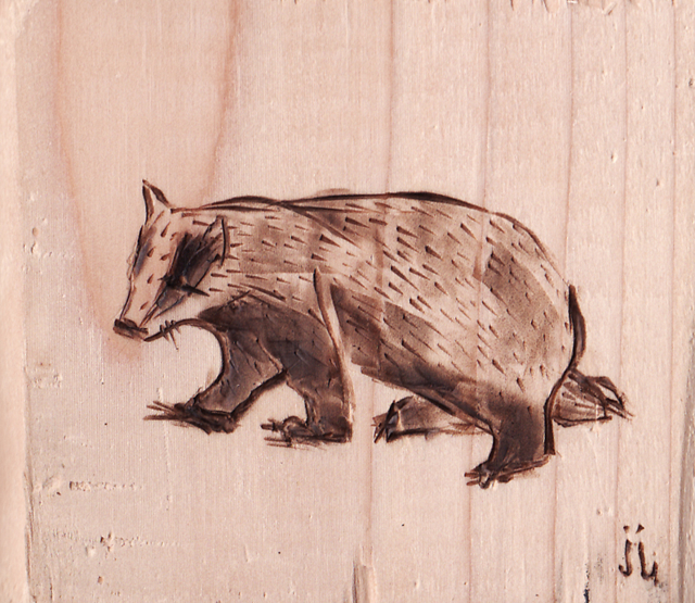 Badger pyrography by June Jewell